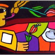 Győri Márton_Fernand Leger virágot helyez a síromra 2010 olaj, vászon 100×150 cm_resize